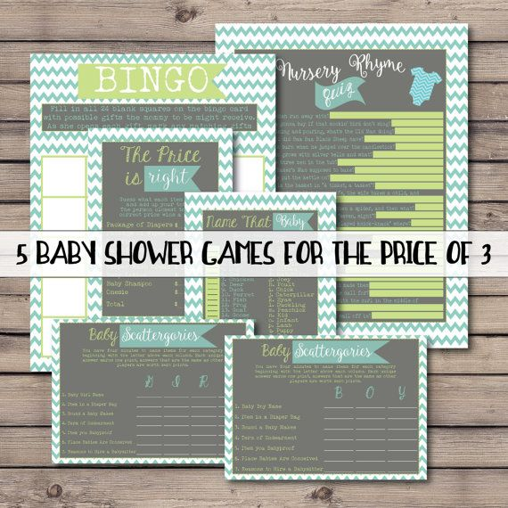 5 pack of Printable Chevron Stripe Teal, Turquoise, Lime Green, and Gray Baby Shower Games, Scattergories, Shower Bingo, Nursery Rhyme Quiz, The Price is Right, Baby Matchng Game, Name That Baby by CaraCoPrintables