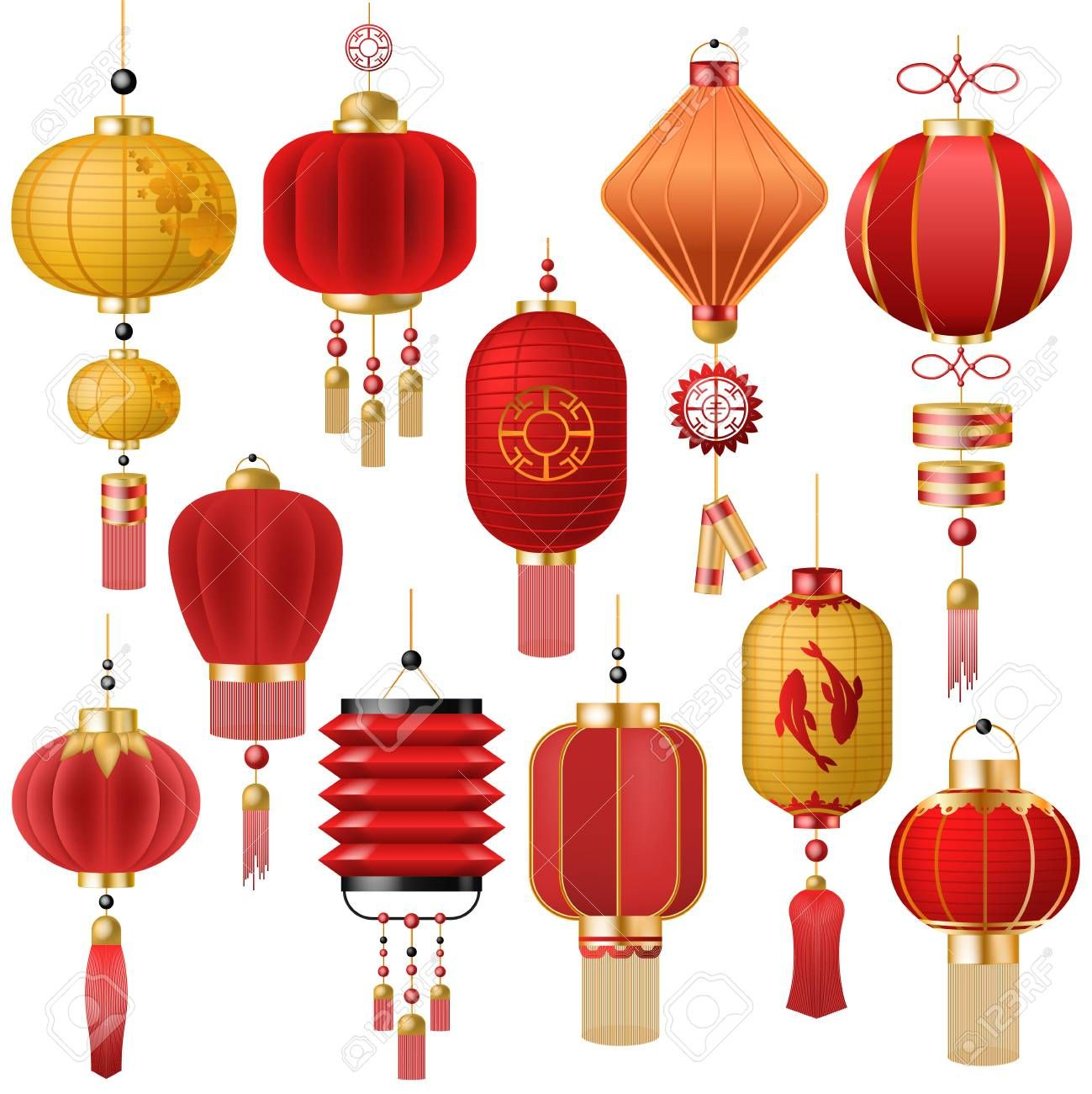 Chinese Lantern Vector Traditional Red Lantern Light And Oriental Decoration Of China Culture For Asian Celebr Chinese Lanterns Red Lantern Red Lantern Chinese