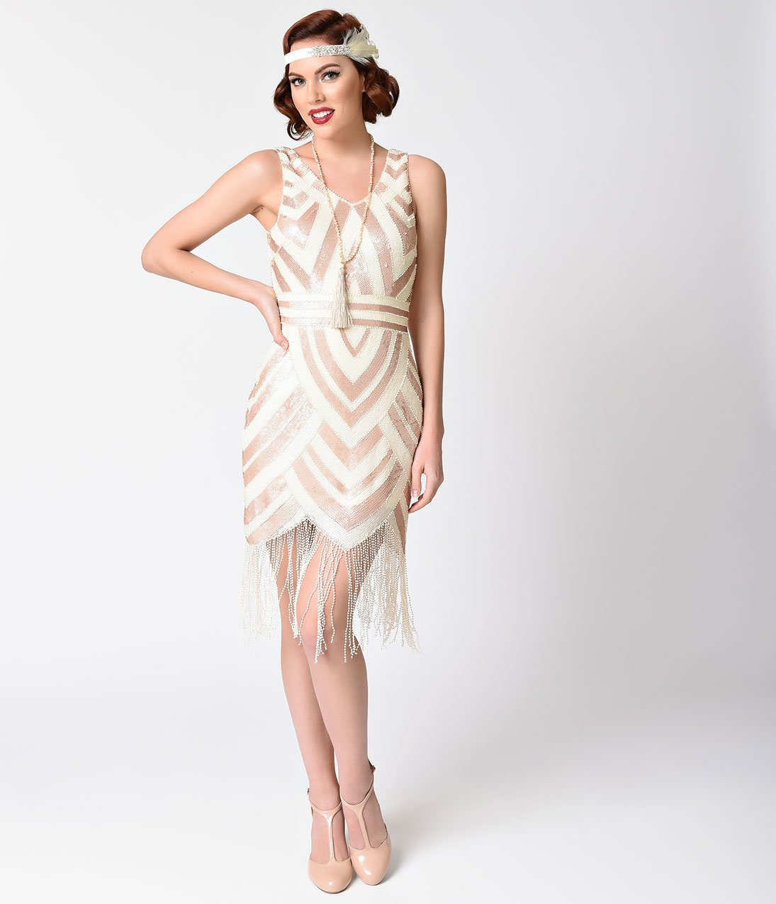 09470a66e88 Vintage 1920s Style Ivory   Gold Sequin Deco Fringe Flapper Dress – Unique  Vintage