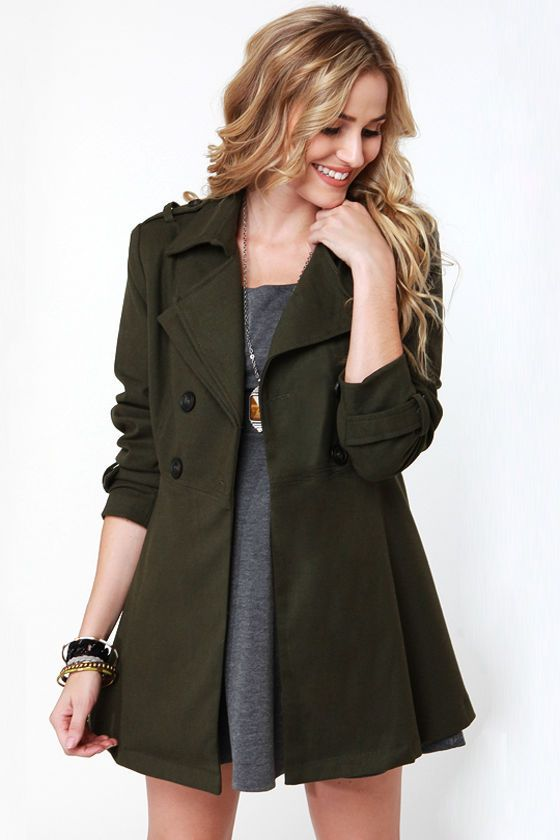Cute Army Olive Green Trench Coat