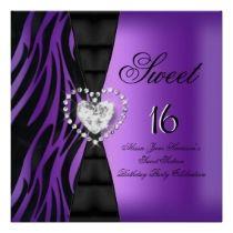 Sweet 16 Sixteen Birthday Party Zebra Purple invitations