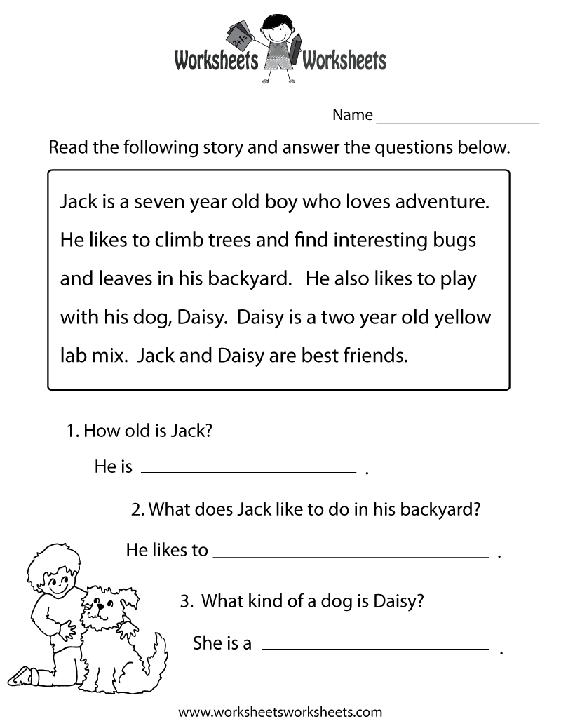 Worksheets First Grade Reading Comprehension Worksheet reading comprehension practice worksheet printable language printable