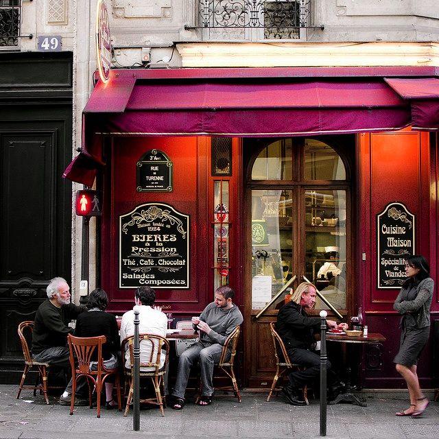 | ♕ | Sidewalk cafe in Marais, Paris | by © .natasha.
