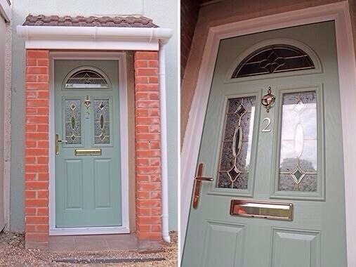 Upvc green colour composite front door made to measure for Upvc window designs