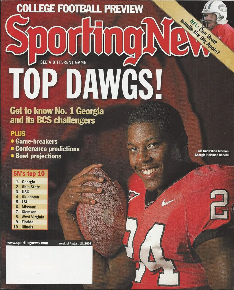 Sporting News Magazine College Football Preview Knowshon Moreno Brett Favre With Images College Football Sports News News Magazines
