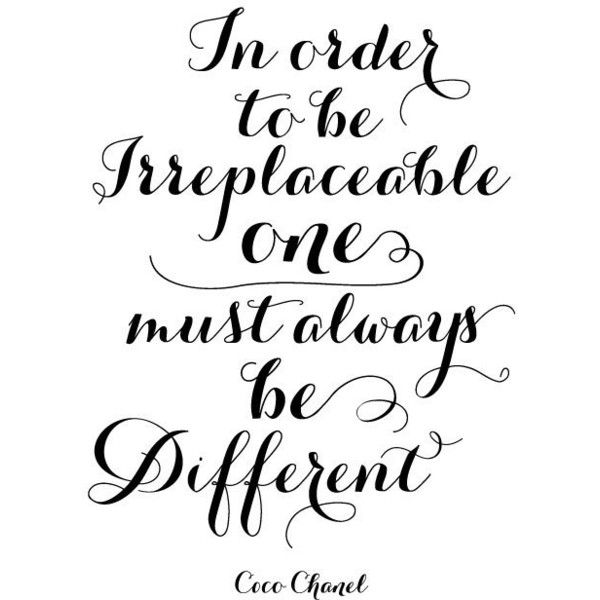 Coco Chanel be different - inspirational positive quote print poster, black and white typography ($21) found on Polyvore