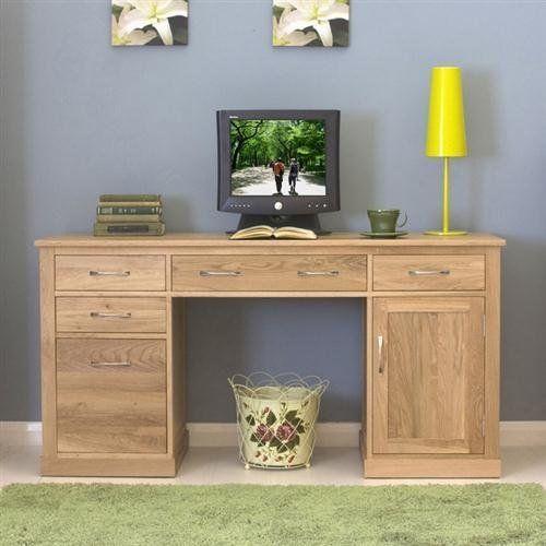 twin pedestal computer desk mobel solid premium oak new baumhaus http www