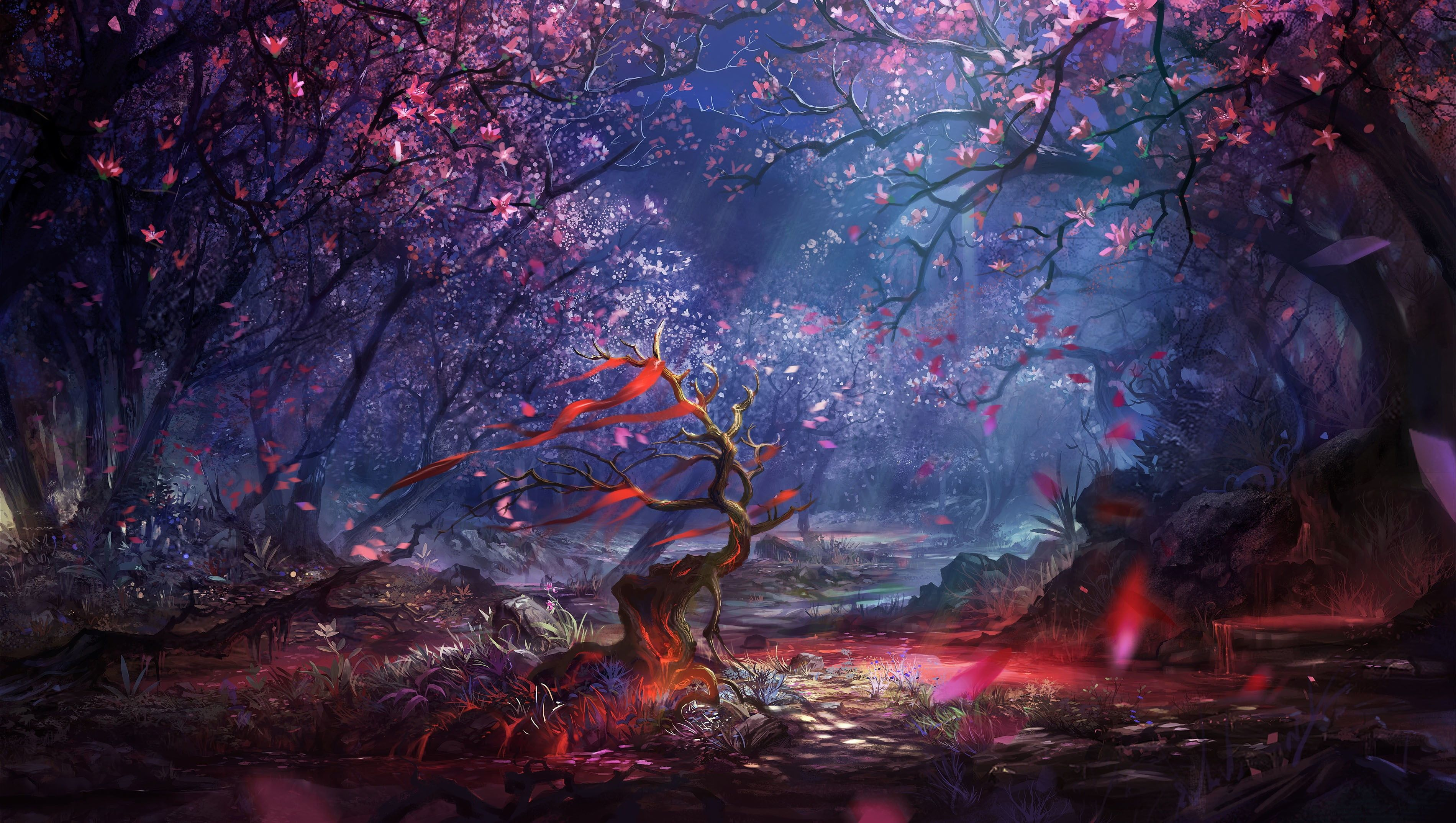 Pink And Brown Trees Digital Wallpaper Artwork Fantasy Art Digital Art Forest Trees Colorful Land In 2020 Fantasy Landscape Digital Artwork Fantasy Fantasy Forest