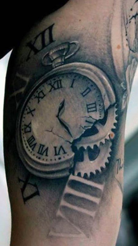 Broken Pocket Watch Tattoo Design Broken Pocket Watch Wi...