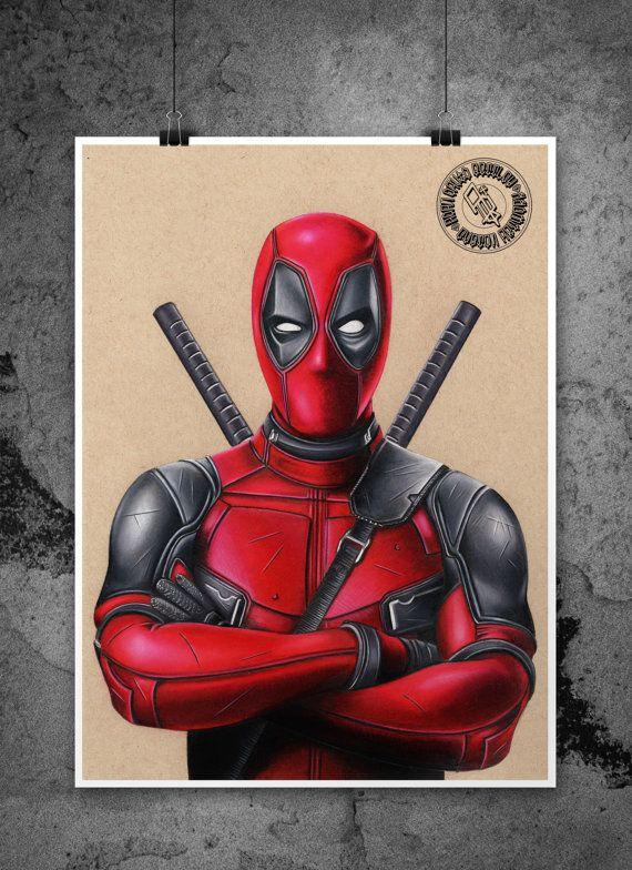 Deadpool Movie Fine Art Print Hand Drawing Etsy In 2021 Deadpool Illustration Colorful Drawings Marvel Drawings