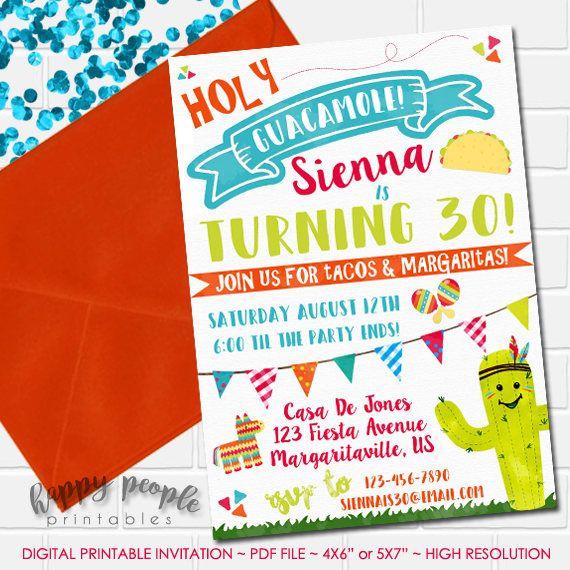 Fiesta Birthday Invitation Holy Guacamole Invitation Fiesta