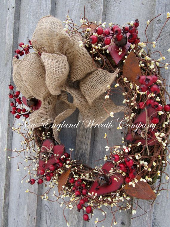 Country Farmhouse Wreath Primitive Burlap Pip Berry Wreath Primitive Decor Country Home Decor Pip Berry Garland with Rusted Stars