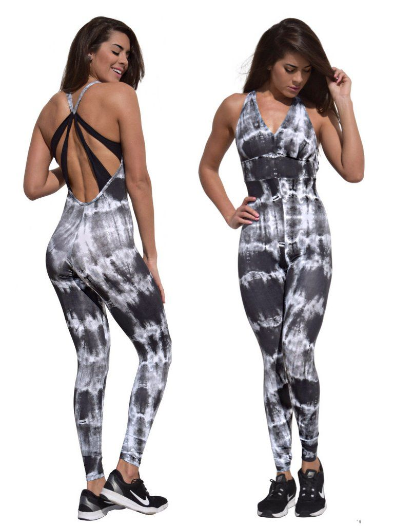 2381dc6c2ca Denise Tie Dye Prints Jumpsuit Open Back Black with White V neck back  details Full Length Bottom Very Stretchy Fits One Size