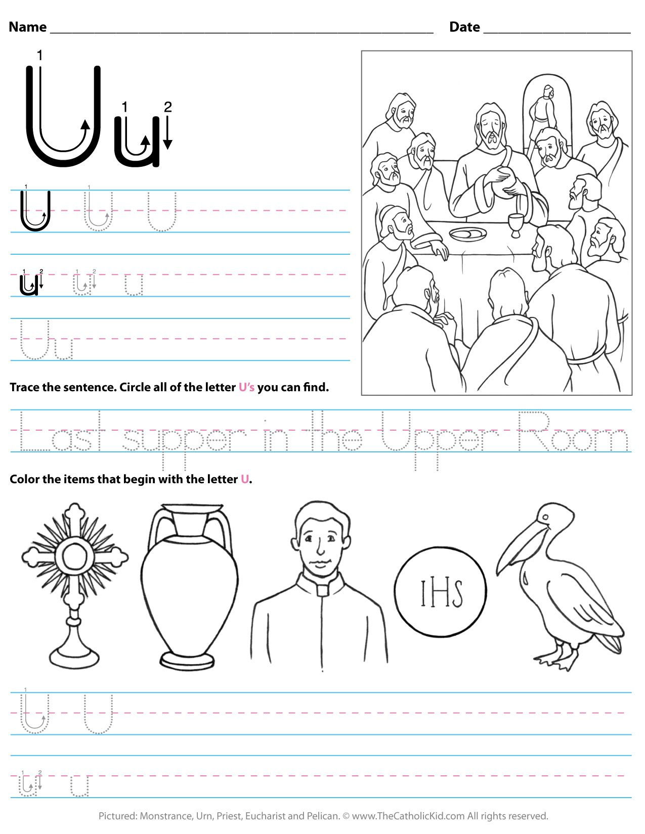 Catholic Alphabet Letter U Worksheet Preschool