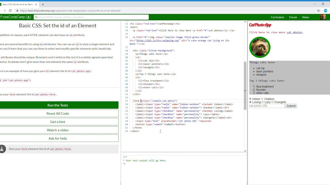 14 44 Basic Css Set The Id Of An Element Learn Freecodecamp Free Web Design Css Basic