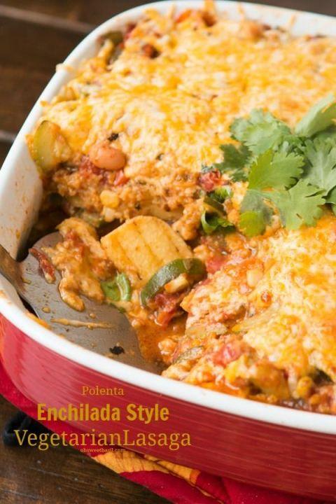 Holy. Yum. Polenta Enchilada Vegetarian Lasagna ohsweetbasil.com