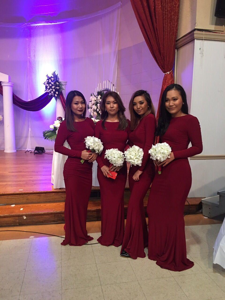 Burgundy bridesmaids dresses mermaid dresses burgundy long sleeve