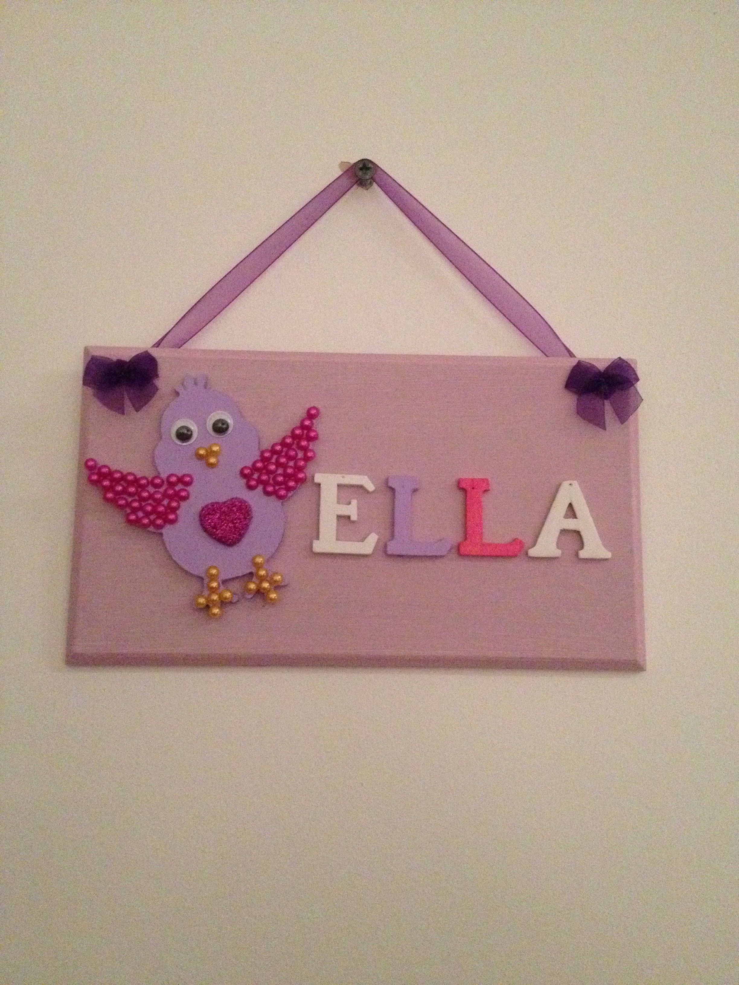 Ella Bedroom Wall Hanger/ Plaque