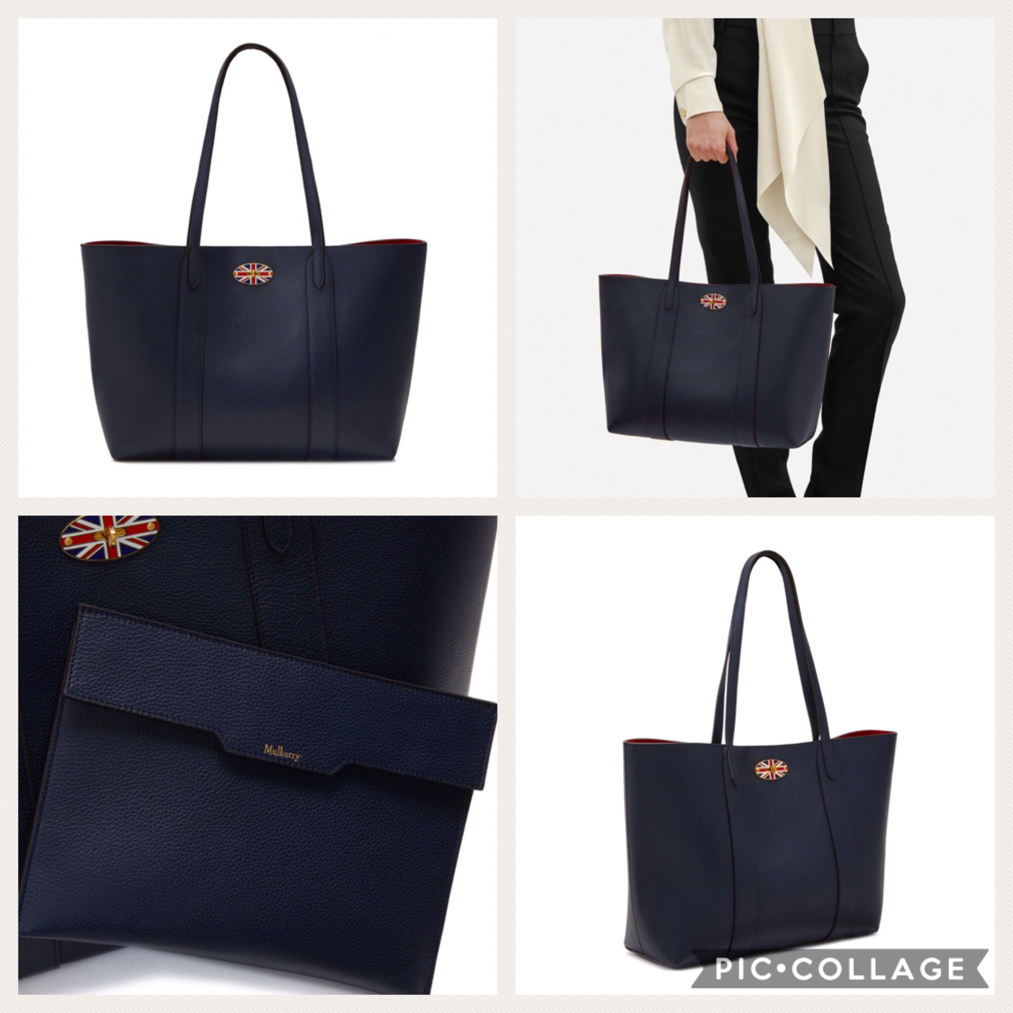 ... official mulberry new bayswater tote oxford blue scarlet aw17 92a23  97d89 dcd5285a5088e