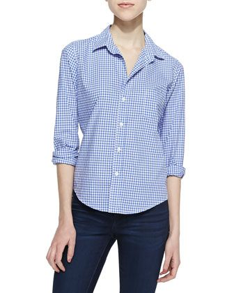 Barry Gingham Button-Down Blouse, Blue/White by Frank & Eileen at Neiman Marcus.