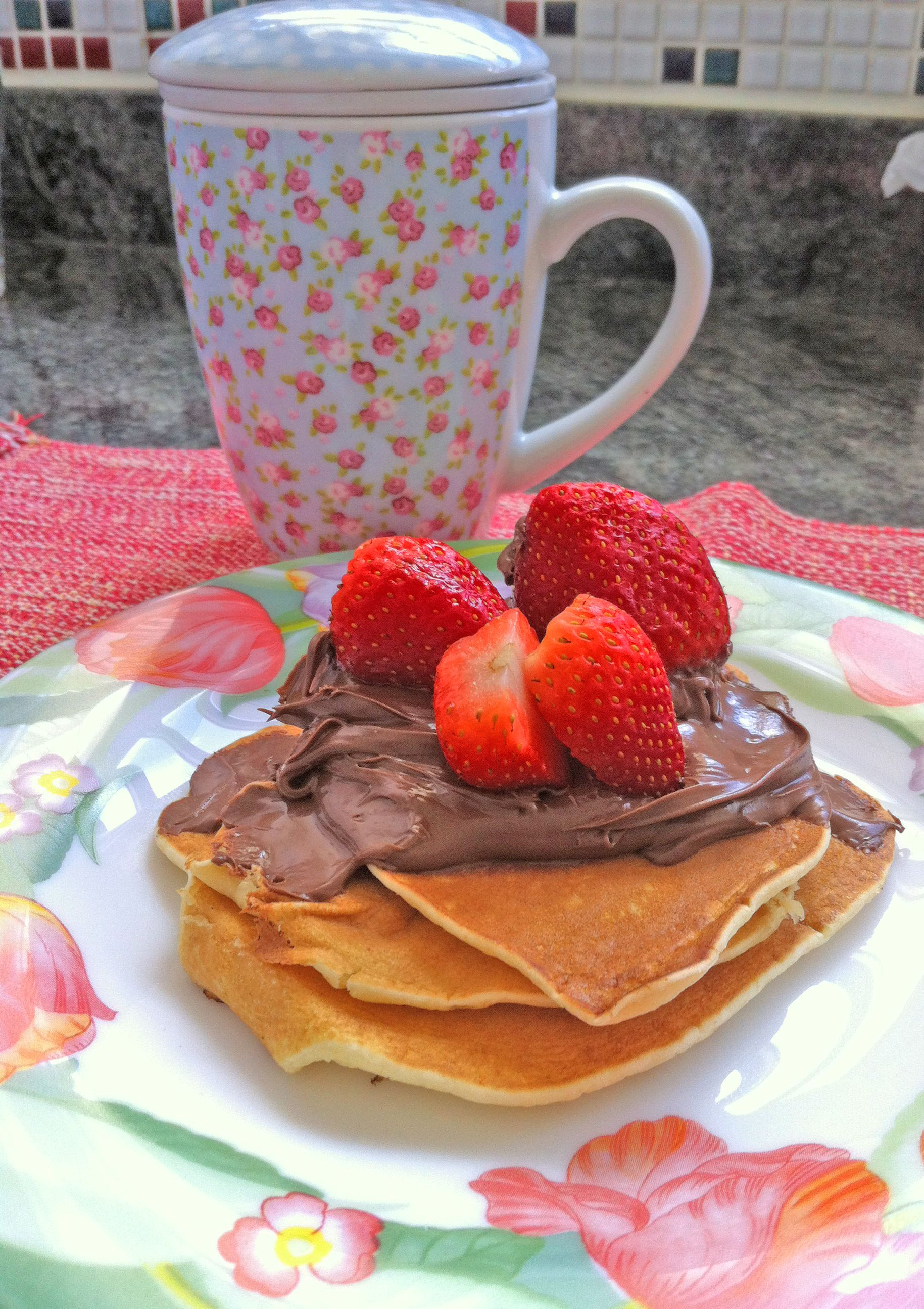Pancakes with Nutella and strawberries :)