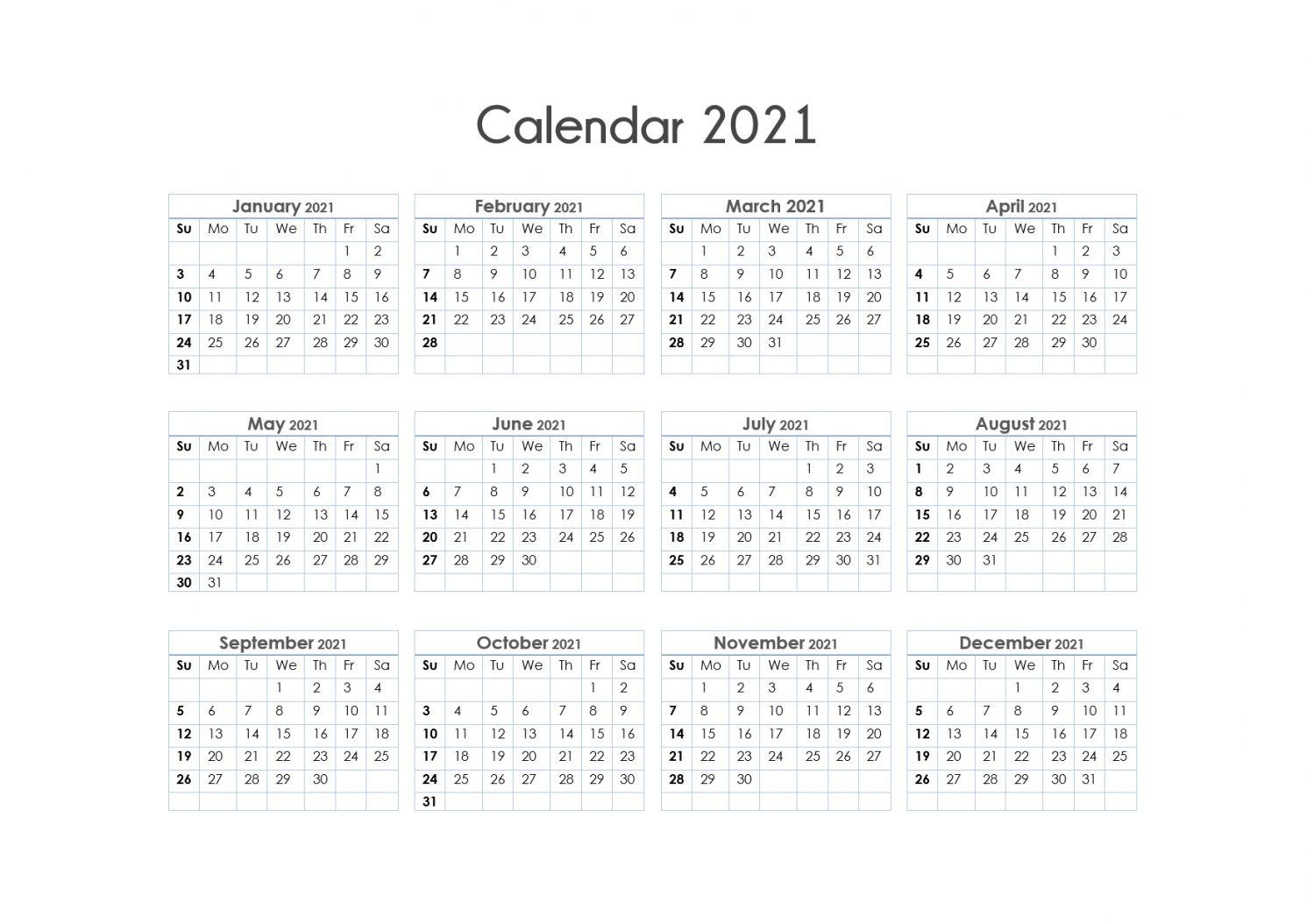Epoch Calendar 2021 One Page Calendar 2021