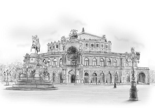 Zeichnung Semperoper Dresden Karikatur Vom Foto Karikatur Fotos
