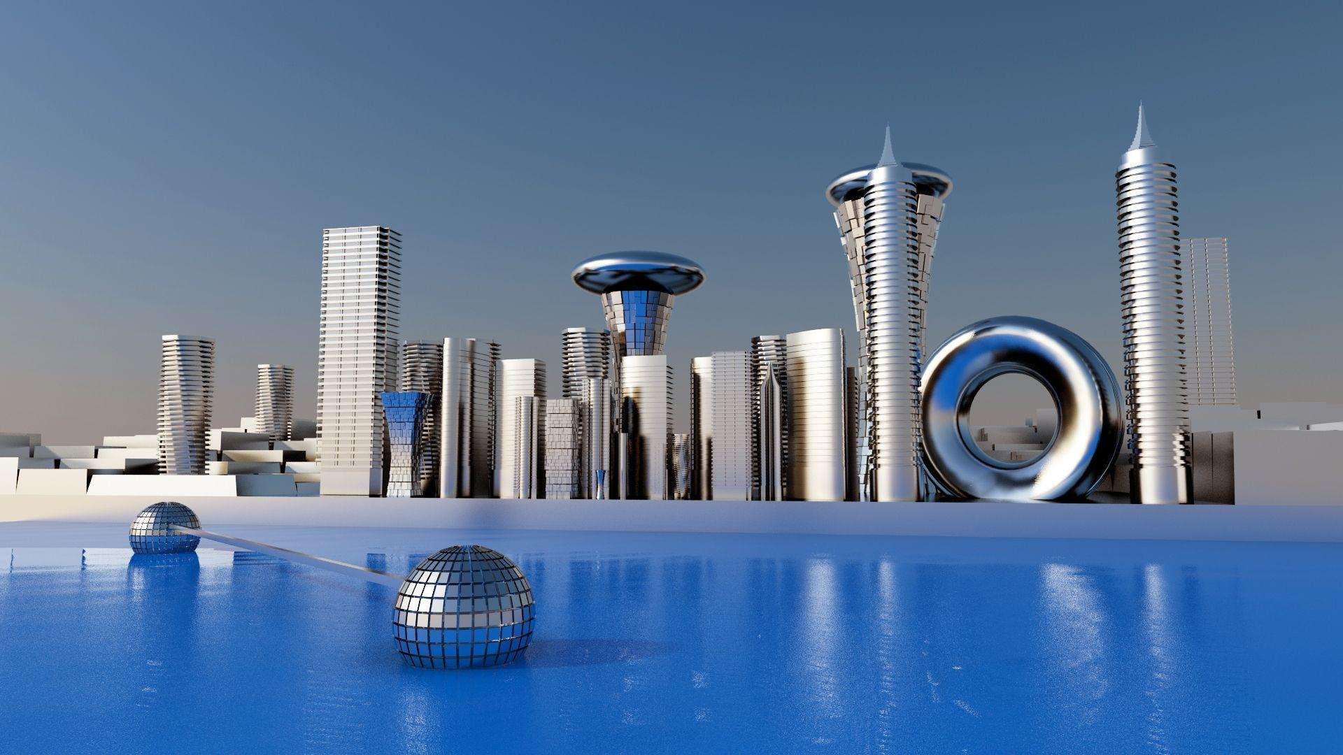 future cityscape_4b100fe076a92_hires.jpg (JPEG Image, 1920 × 1080 pixels) -  Scaled (68%) | Future wallpaper, Future buildings, Cityscape