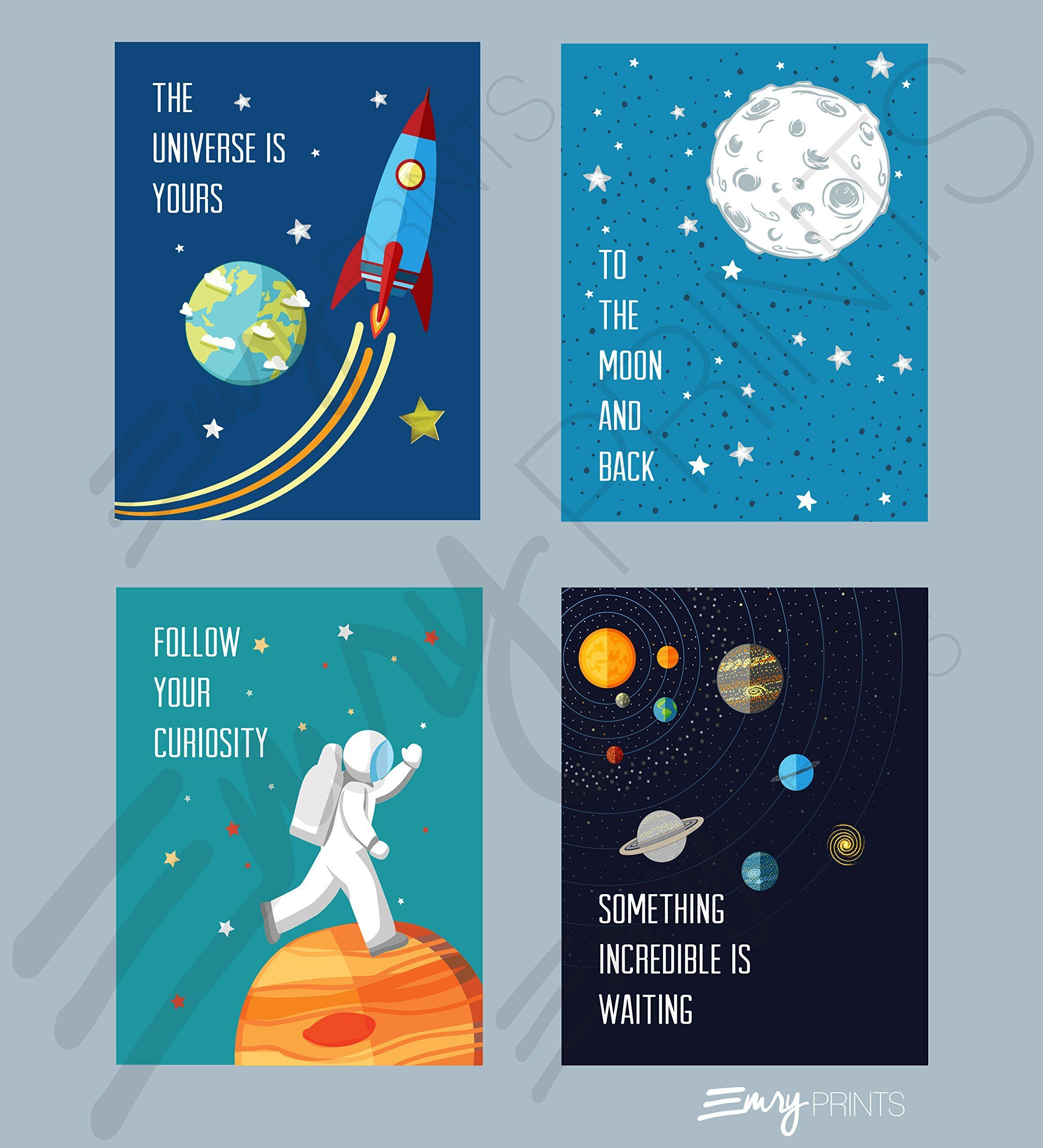 Outer space art prints set of 4 8x10 unframed space