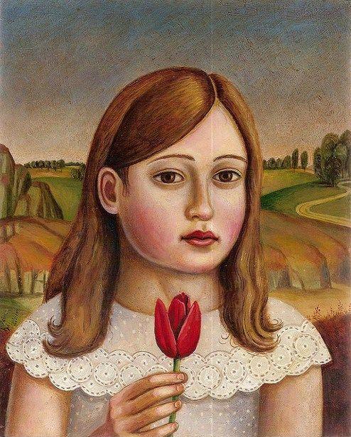 Rick BEERHORST - Girl With Red Tulip