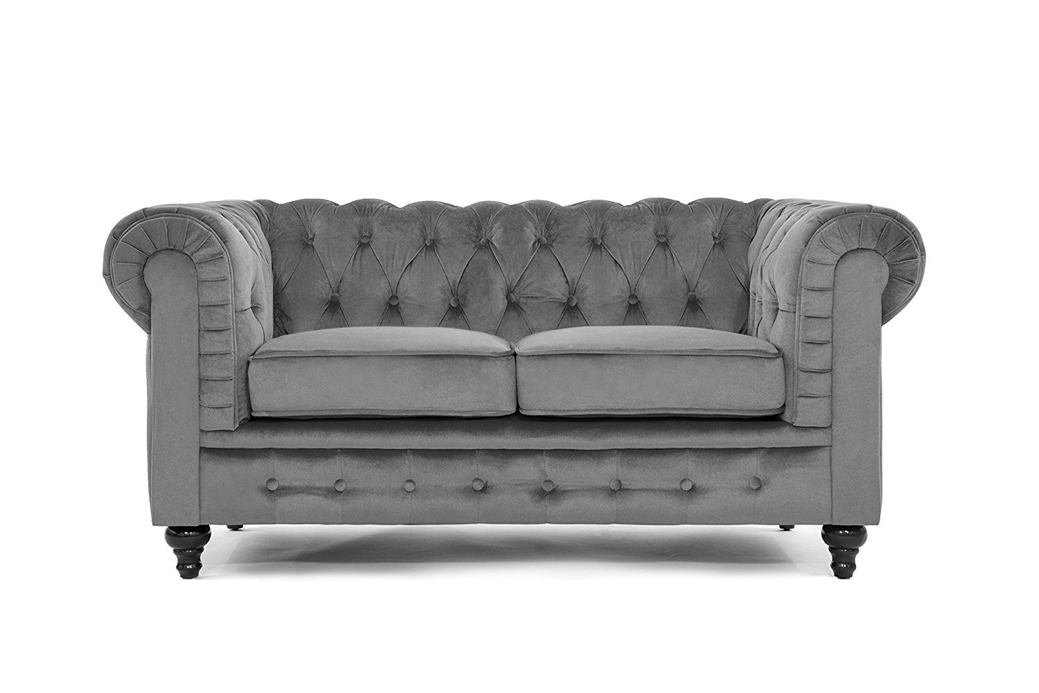 Amazon.com: Classic Scroll Arm Chesterfield Style Loveseat with Tufted  (Grey):