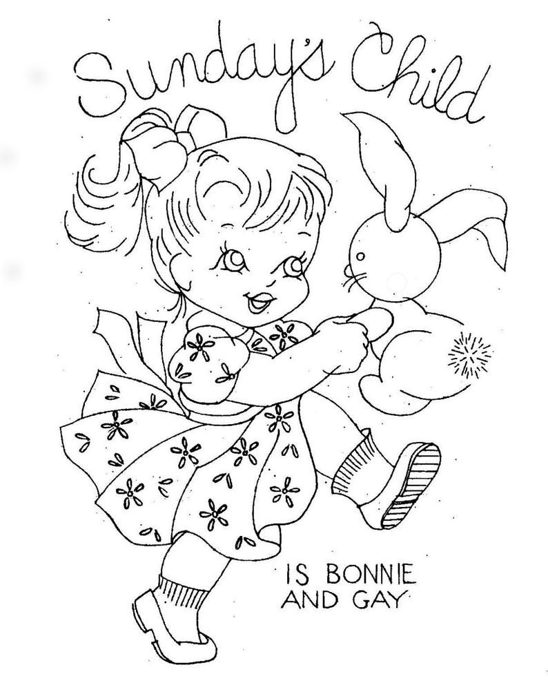 Monday's Child for Hand Embroidery iron on transfer 7163