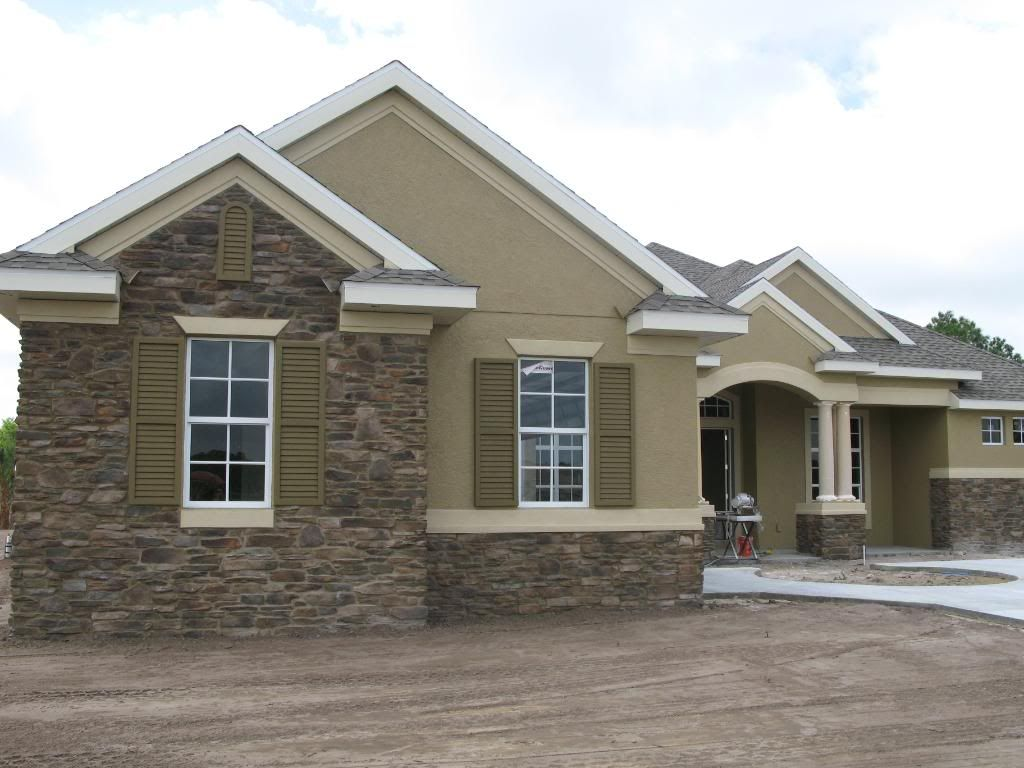 Cultured stone exteriors can anyone show pics of for Stucco facade