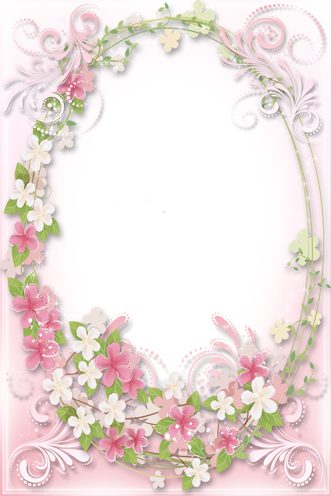 Transparent Soft Pink Flowers Frame Imagens vintage