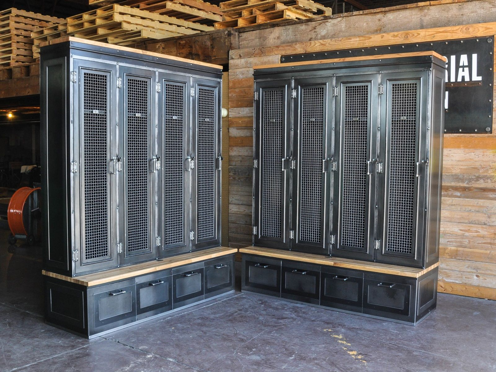 Custom Mudroom Lockers For An Entry With Our Vintage Industrial Spin Mudroom Lockers Mudroom Entryway Vintage Industrial Locker