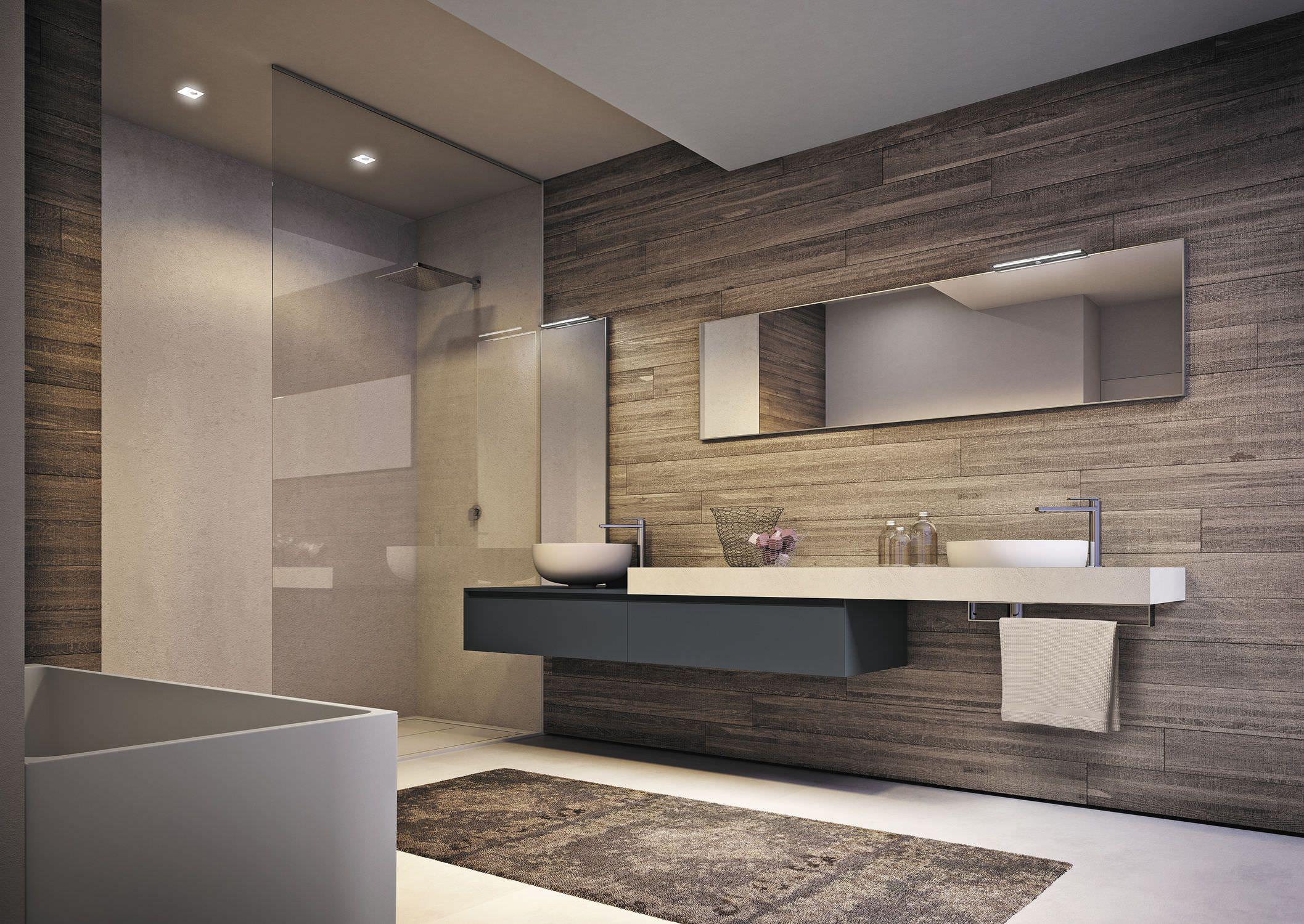 Doppelter Waschtisch Unterschrank Hangend Freistehend Holzfurnier Cubik I Badezimmer Innenausstattung Badezimmer