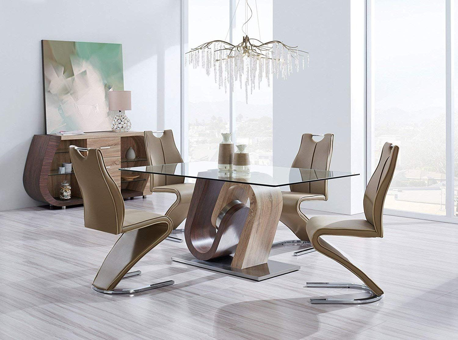 Global Furniture Dining Table Walnut Oak Adds Pizzazz To Your