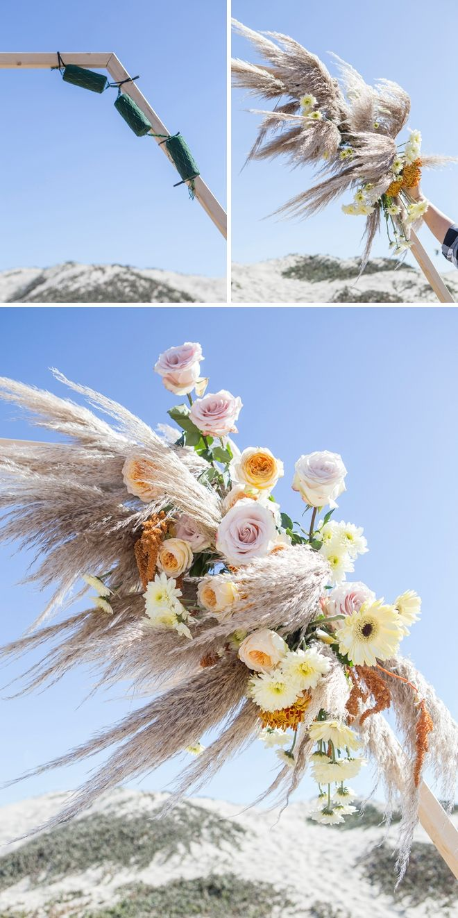 WOW! This DIY Hexagon Wedding Arch Floral Design Is