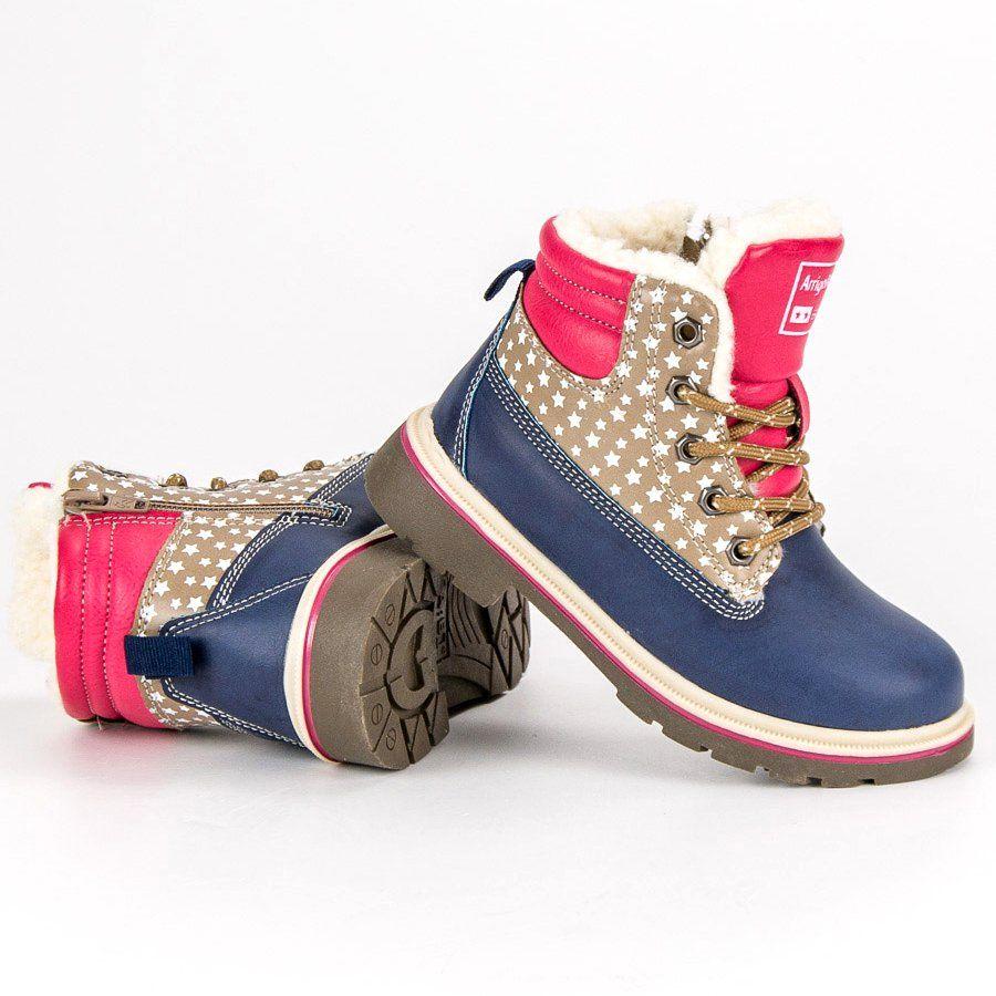 Kozaki Dla Dzieci Arrigobello Arrigo Bello Niebieskie Dzieciece Ocieplane Buty Zimowe High Top Sneakers Shoes Sneakers