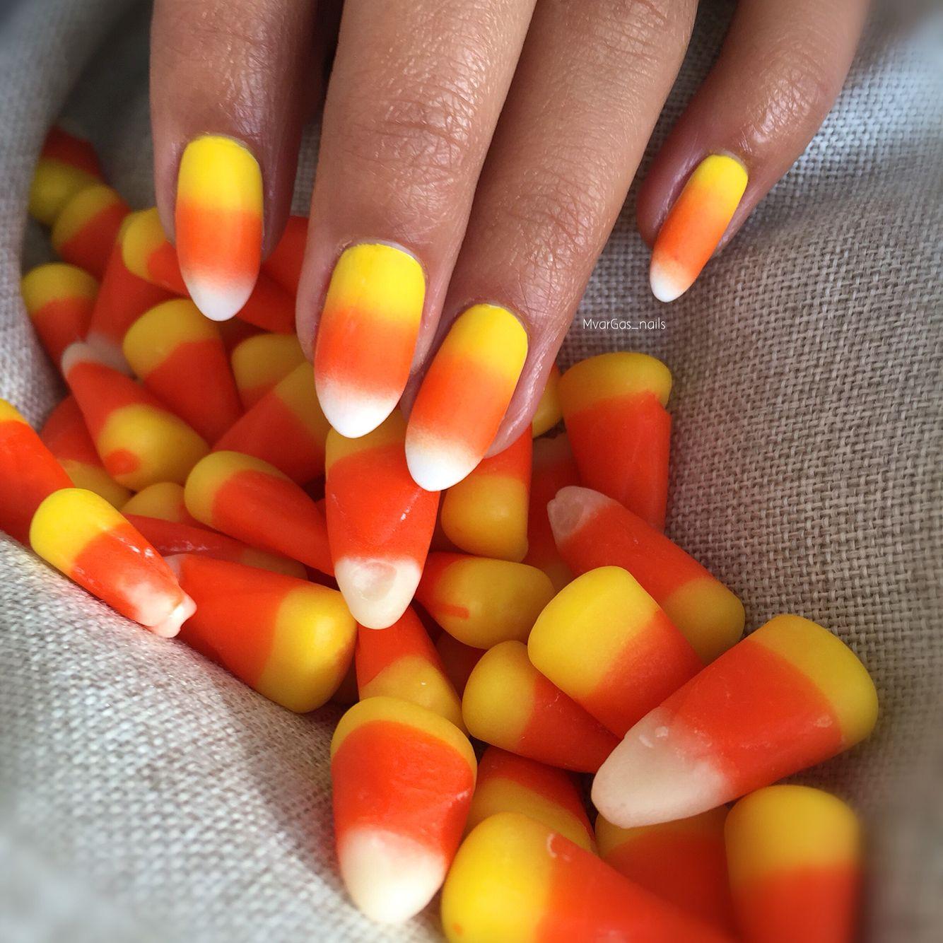 Candy corn nails🌽 | Candy corn nails, Pumpkin nails ...