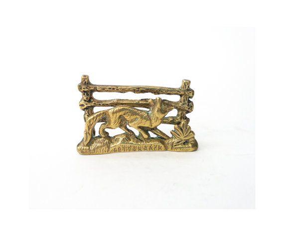 Vintage Brass Fox Business Card Holder