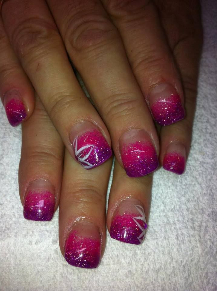 Acrylic Nails I did on my mother in law tonight. Two color fade ...