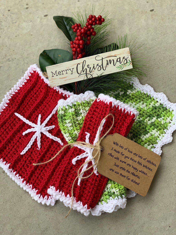 Christmas dish cloths crochet teacher gifts teacher
