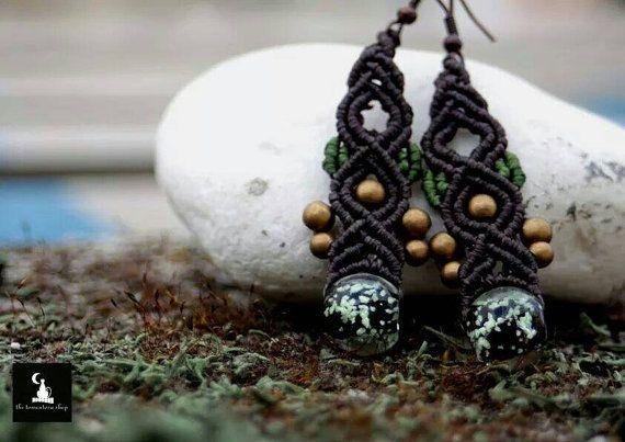 Glow in the dark earrings macrame earrings elf by TheTomentosaShop
