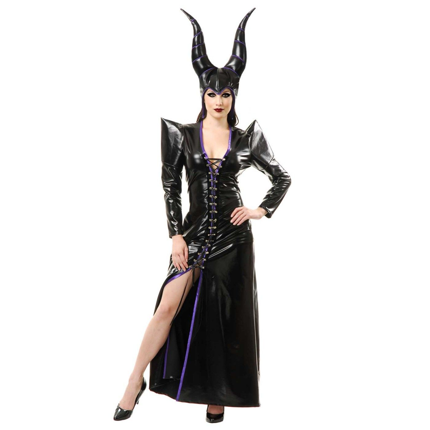 Halloween Witch Costume for Women shiny black dress | Adult ...