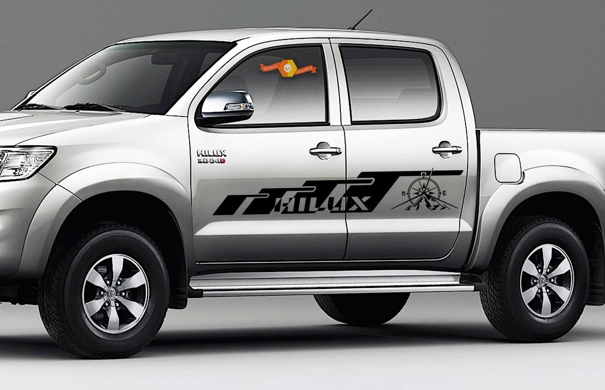 Model 2 Toyota Tundra Double Cab 2016 graphics side stripe decal