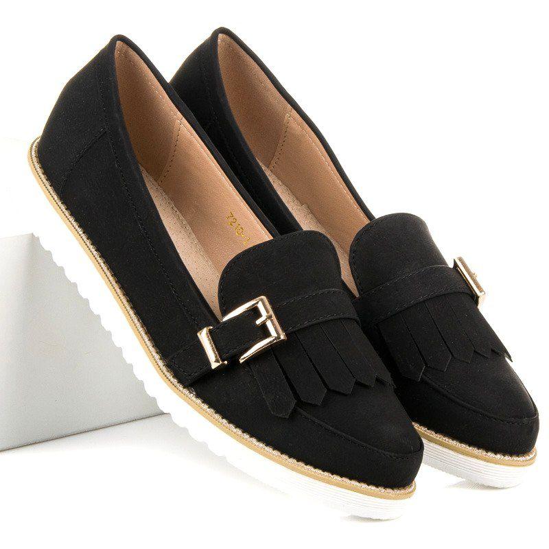 Vices Mokasyny Z Ozdobna Sprzaczka Czarne Loafers Shoes Fashion