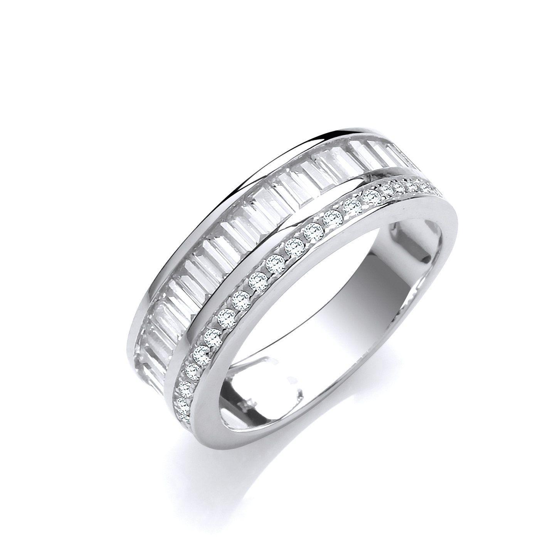 Sterling Silver Channel Set Full Eternity Baguette Cut Cz Ring Hallmarked Jj4WFD