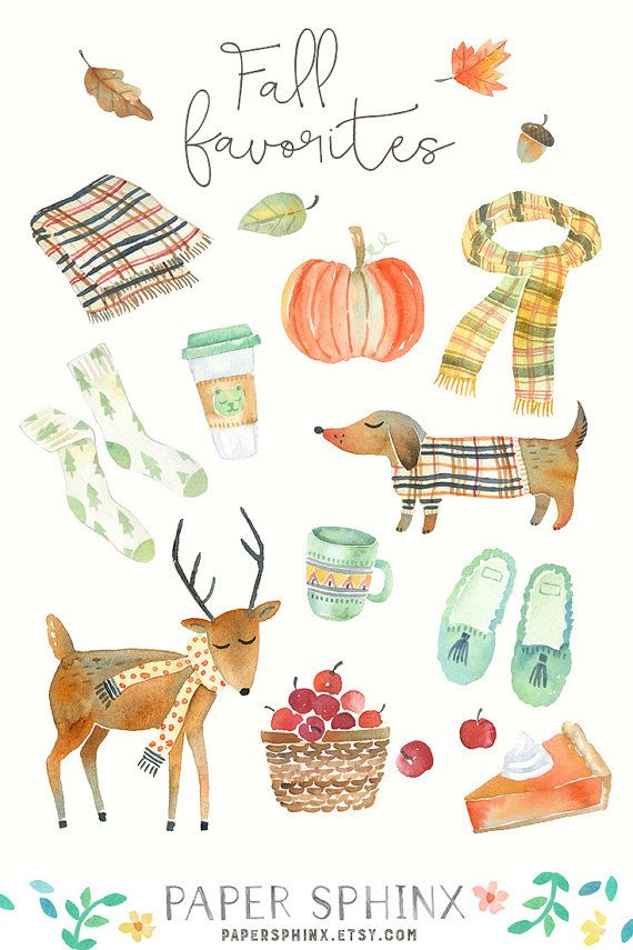 Watercolor Fall Clipart Autumn Graphics Dog Scarf Deer