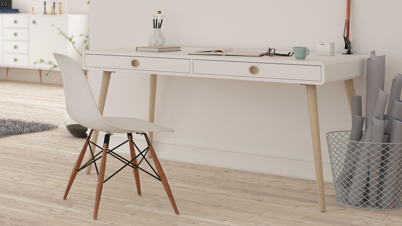 Schreibtisch Soft Line Burotisch In Weiss Und Eiche Massiv Burotisch Eiche Massiv Schreibtisch